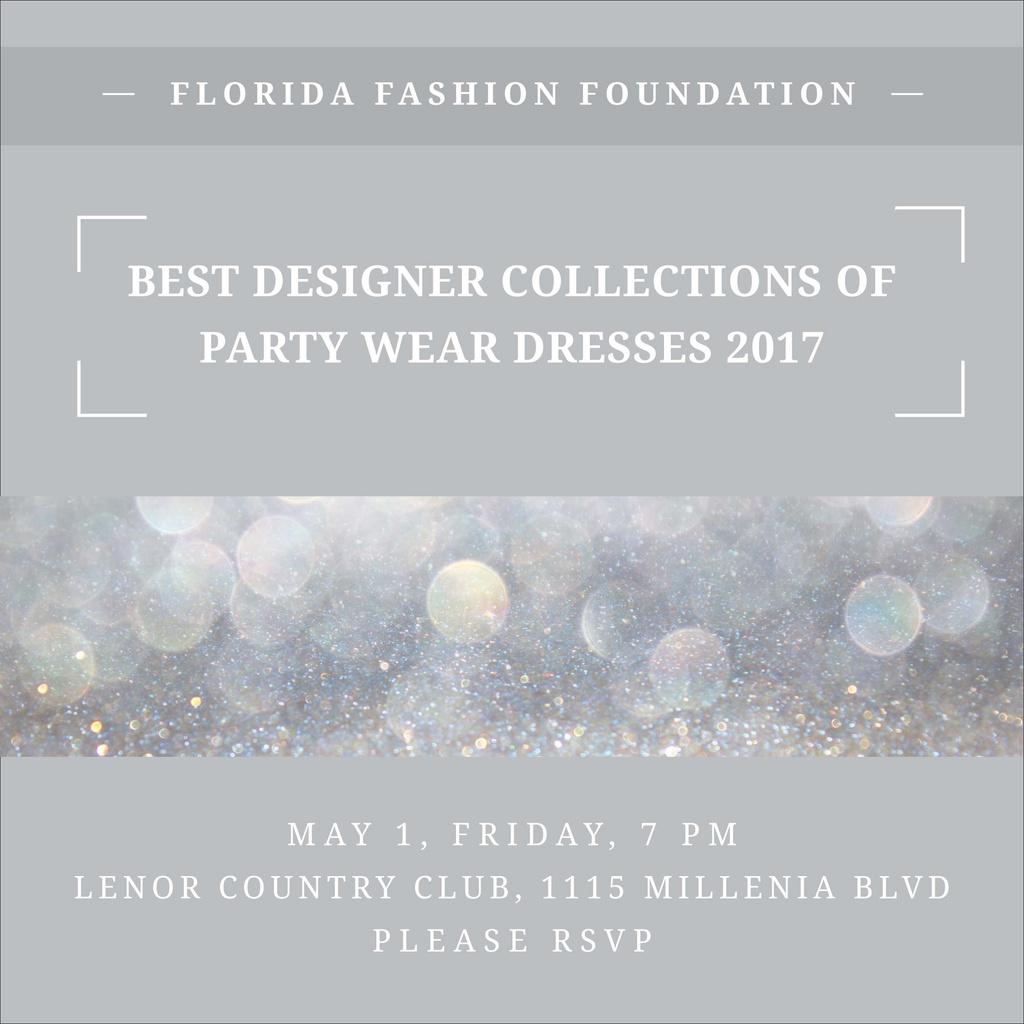 Fashion Show announcement bokeh in blue Instagram AD Modelo de Design