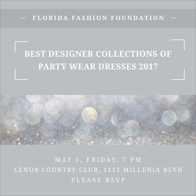 Fashion Show announcement bokeh in blue Instagram AD – шаблон для дизайну