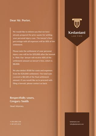 Plantilla de diseño de Law Firm services fee Letterhead