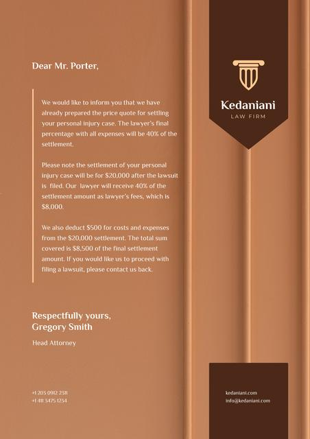 Law Firm services fee Letterhead Design Template