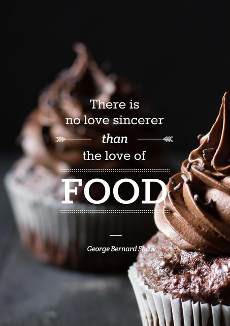 Delicious chocolate muffins with quote Poster – шаблон для дизайну