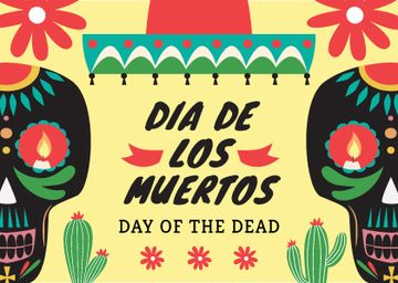 Day of the dead Announcement with Festive Skulls