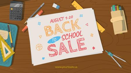 Back to School Sale Stationery on Table FB event cover Design Template