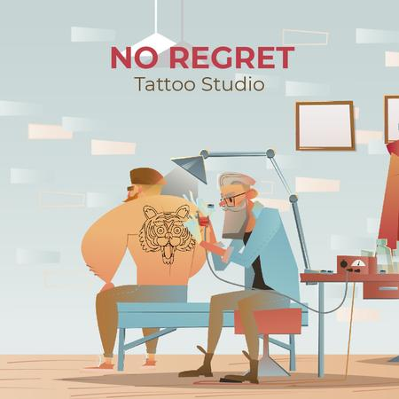 Old Man making Tiger Tattoo Animated Post Modelo de Design