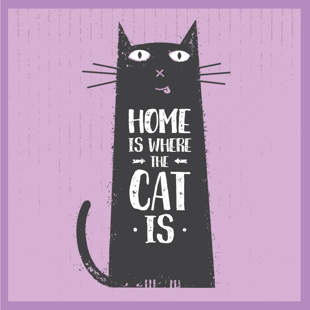 Funny black cat on Purple — Crear un diseño