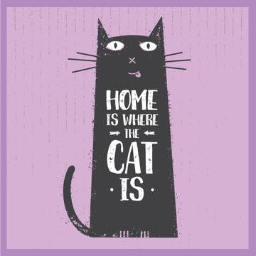 Funny black cat on Purple