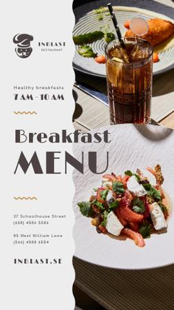 Breakfast Menu Offer with Greens and Vegetables Instagram Story Modelo de Design