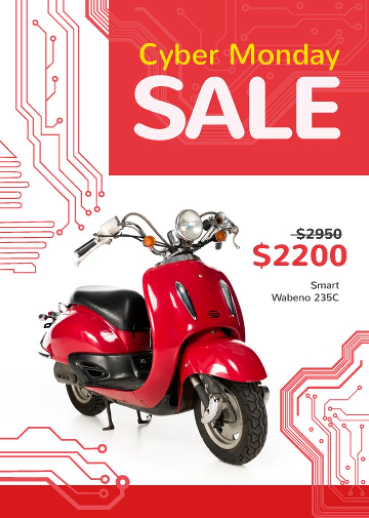 Cyber Monday Sale Scooter in Red | Flyer Template — Создать дизайн