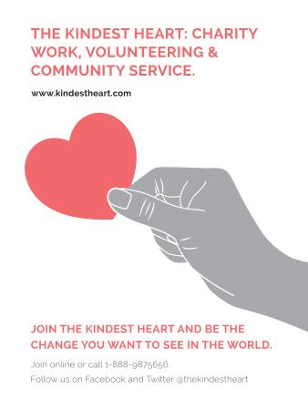 Plantilla de diseño de Charity event Hand holding Heart in Red Poster US