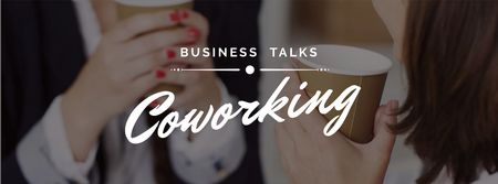 Business Women holding Coffee cups Facebook coverデザインテンプレート