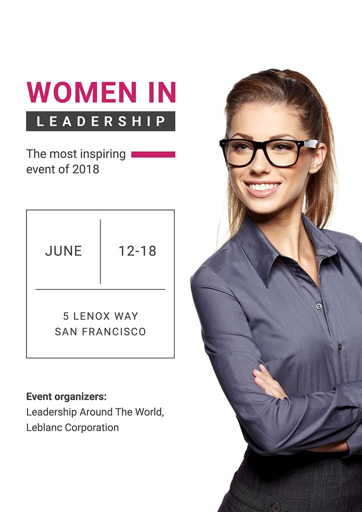 Business Event Announcement Smiling Businesswoman   Poster Template — Створити дизайн