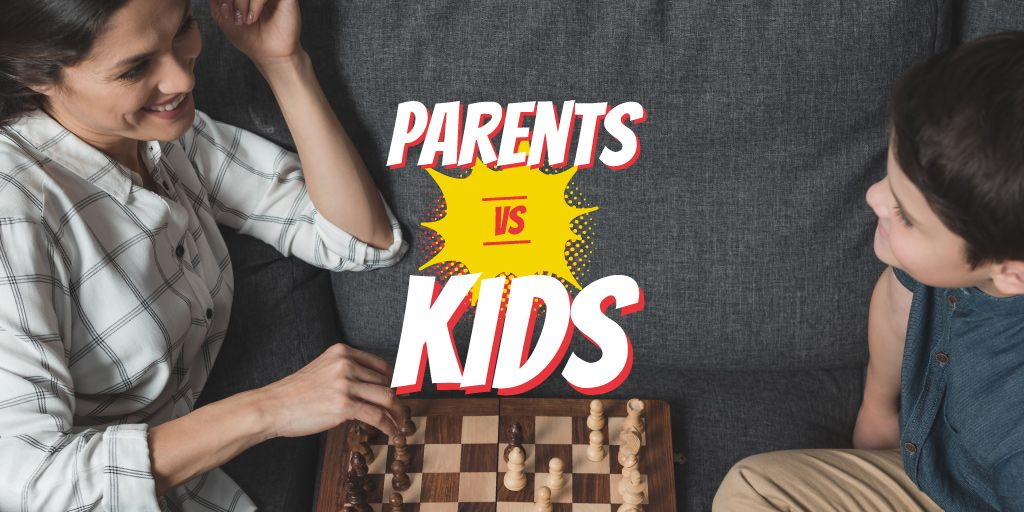Mother and Son Playing Chess | Twitter Post Template — Modelo de projeto