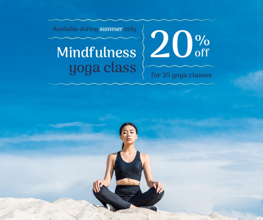Modèle de visuel Woman Practicing Yoga in blue - Facebook
