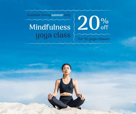 Template di design Woman Practicing Yoga in blue Facebook