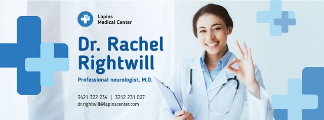 Plantilla de diseño de Doctor Contacts with Smiling Practitioner with Stethoscope Facebook cover