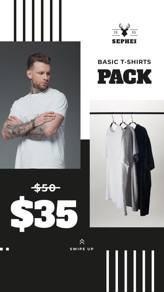 Male Clothes Store Sale Basic T-shirts — Crear un diseño