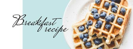 Breakfast Recipe Ad with Tasty Waffle Facebook cover – шаблон для дизайна