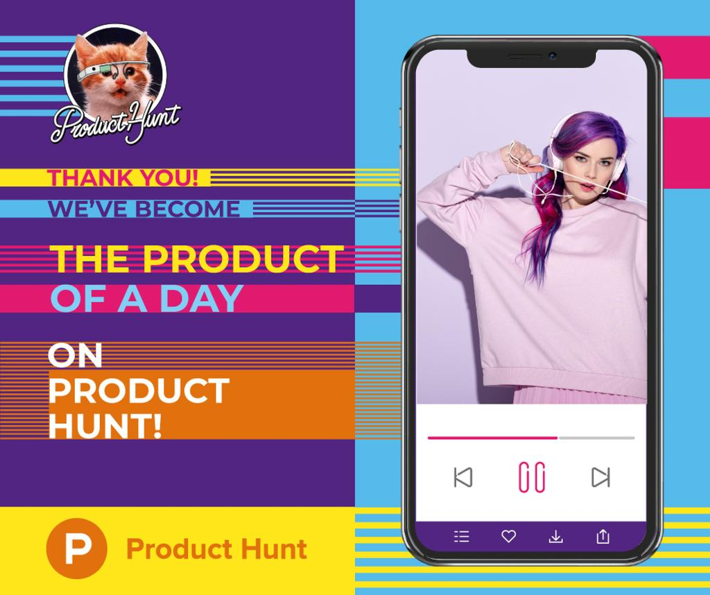 Product Hunt Campaign Woman Listening Music in Headphones — Створити дизайн
