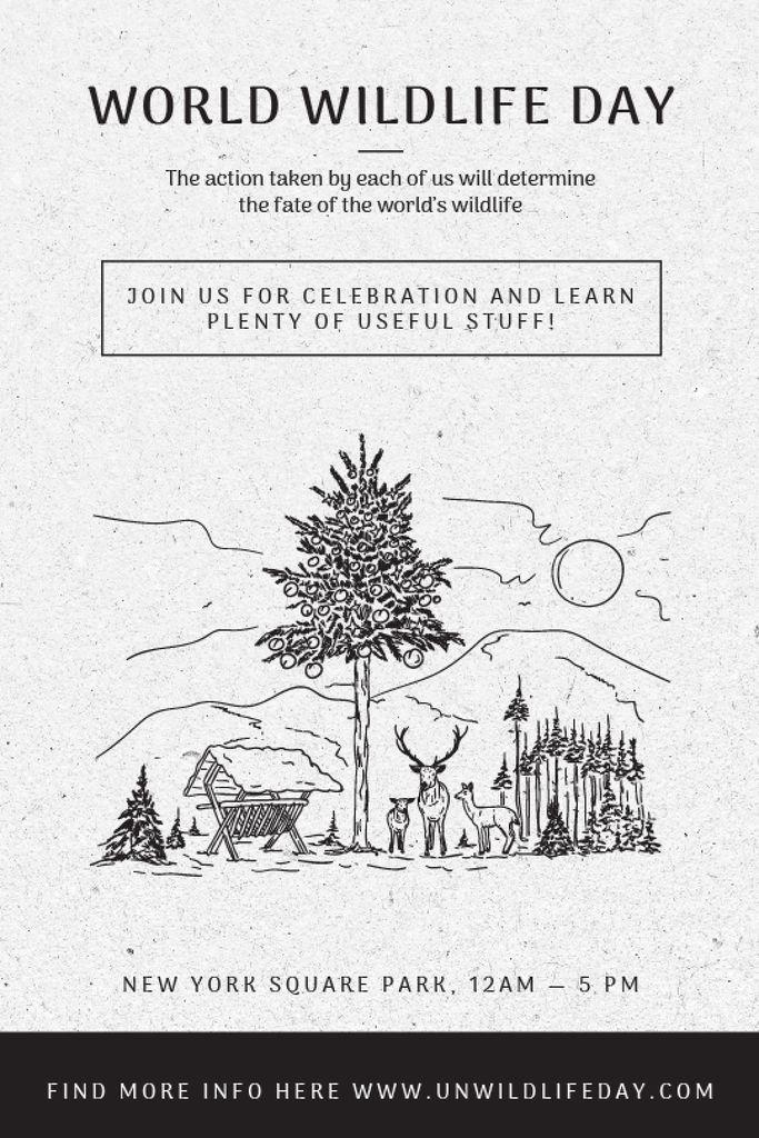 World Wildlife Day Event Announcement Nature Drawing — Maak een ontwerp