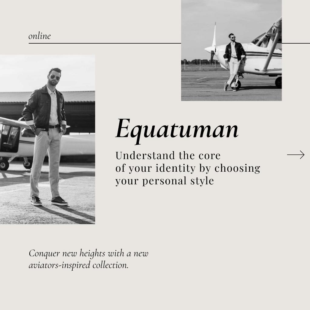 Ontwerpsjabloon van Instagram van Fashion Offer with Man in Stylish Outfit