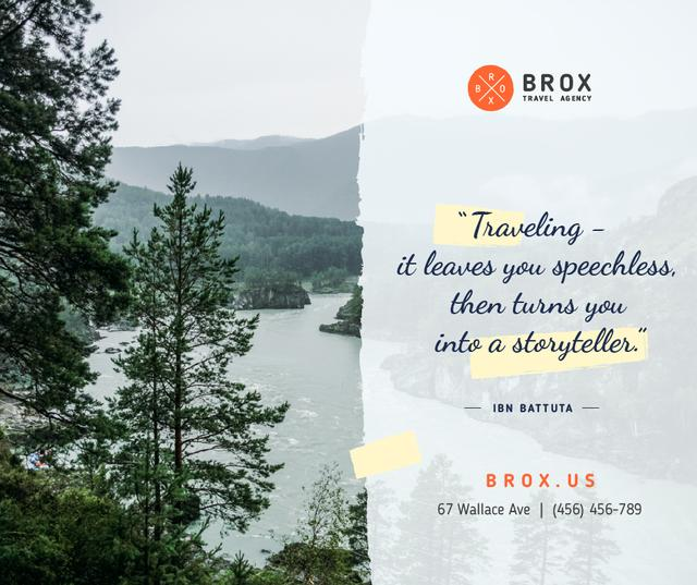 Travel Quote on Scenic Forest View Facebook Design Template