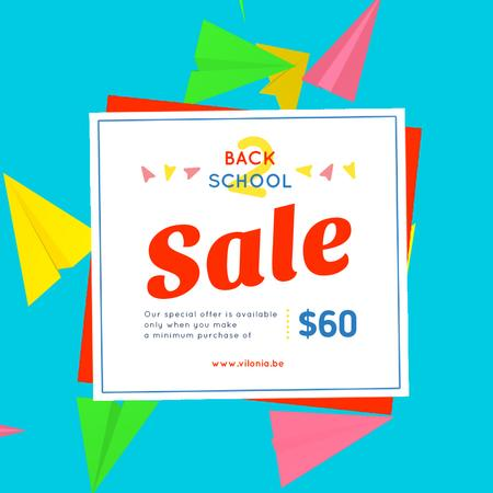 Back to School Sale with Flying Paper Planes Animated Post Tasarım Şablonu