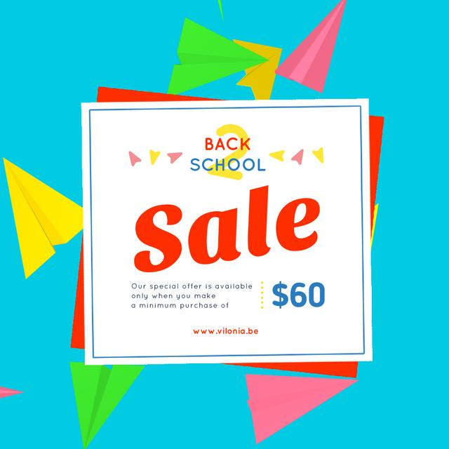 Back to School Sale with Flying Paper Planes Animated Post Modelo de Design
