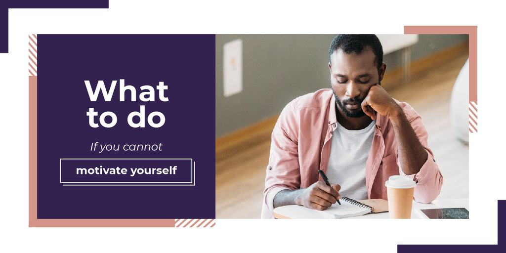 Thoughtful african american man writing Image Design Template