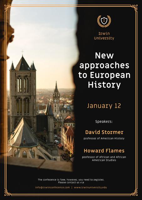 Plantilla de diseño de History Lecture Announcement Old Town View Poster