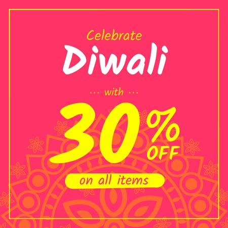 Happy Diwali Offer Mandala in Pink Instagramデザインテンプレート