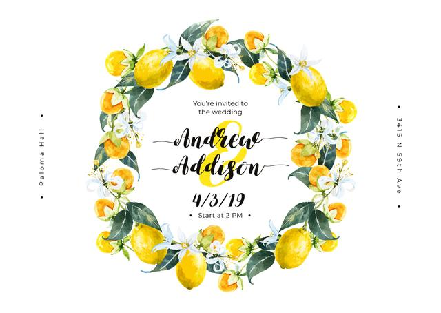 Wedding Invitation Wreath with Lemons Card Design Template
