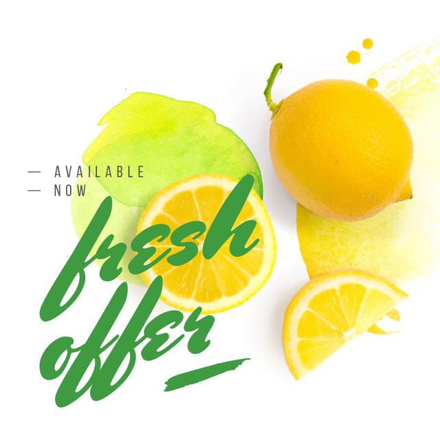 Fresh Offer with Raw lemon fruit Instagram Design Template