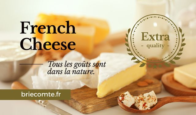 French Cheese Advertisement Business card Design Template