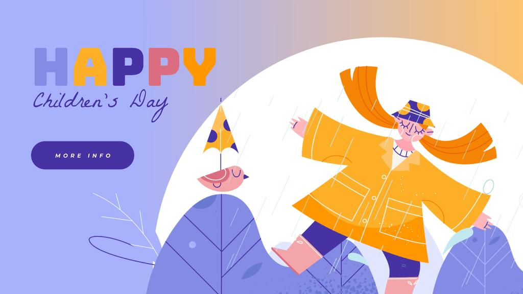 Happy girl dancing in the rain — Crear un diseño