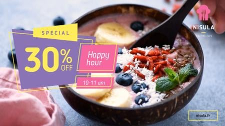 Happy Hour Offer Smoothie Bowl with Fruits Full HD video Tasarım Şablonu