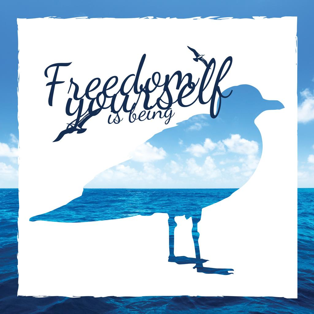 Silhouette of seagull against blue seascape — Create a Design