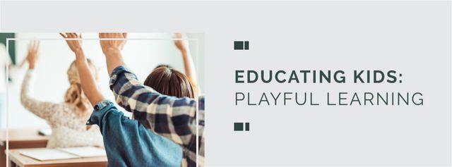 Plantilla de diseño de Education Program Students in Classroom Facebook cover