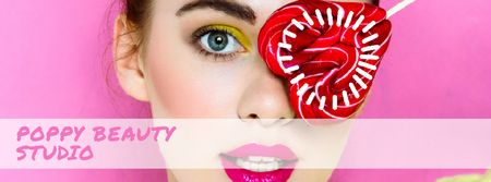 Makeup Ad Girl with Heart Shaped Lollipop Facebook Video cover Tasarım Şablonu