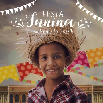 Festa Junina with Smiling Brazilian Kid