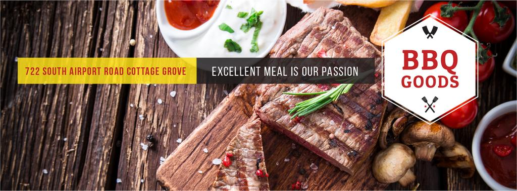 BBQ Food Offer with Grilled Meat | Facebook Cover Template — Create a Design