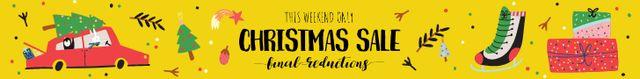 Christmas Sale Announcement Car Delivering Tree Leaderboard Tasarım Şablonu