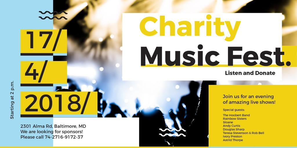Charity Music Fest Invitation Crowd at Concert | Twitter Post Template — Crea un design