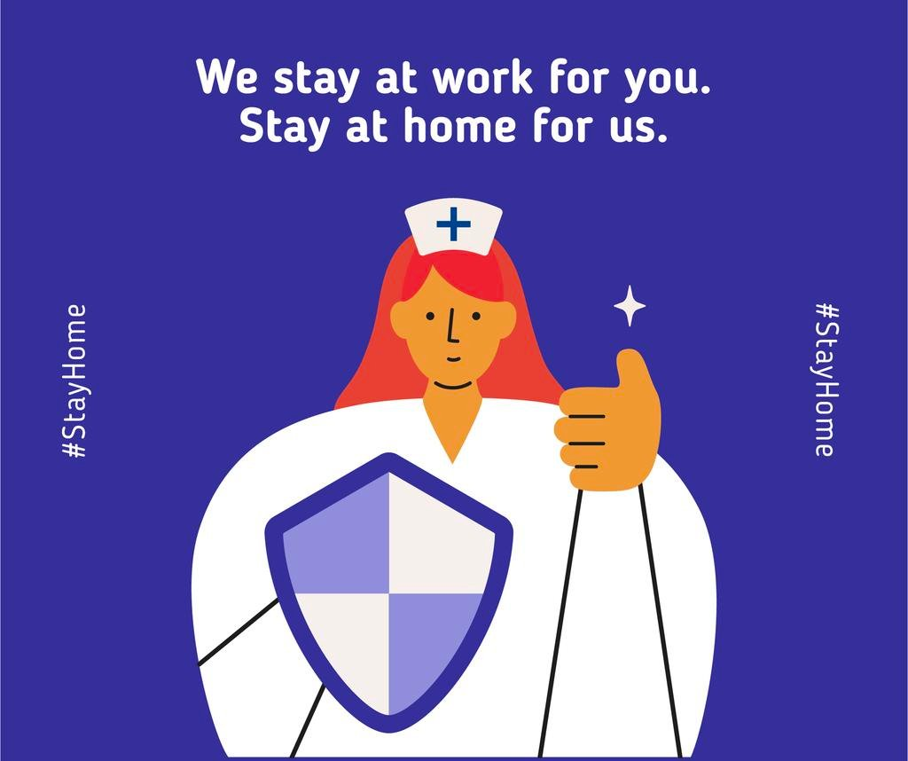 #Stayhome Coronavirus awareness with Supporting Doctor — Crear un diseño