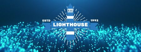 Lighthouse icon with Glowing bubbles Facebook Video coverデザインテンプレート