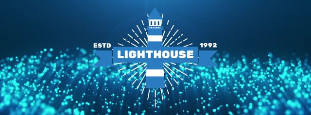 Lighthouse icon with Glowing bubbles Facebook Video cover – шаблон для дизайну
