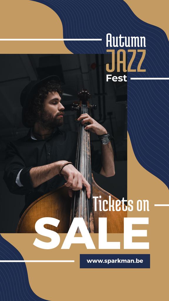 Jazz Music Event Invitation Man Playing Bass — Create a Design