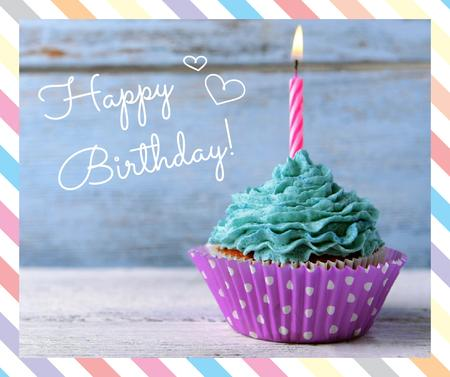 Birthday Greeting Candle on Cupcake in blue Facebook – шаблон для дизайна