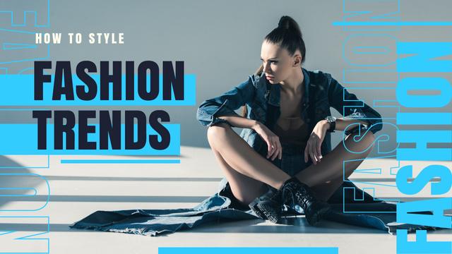 Szablon projektu Fashion Ad Stylish Woman in Black Clothes Youtube Thumbnail