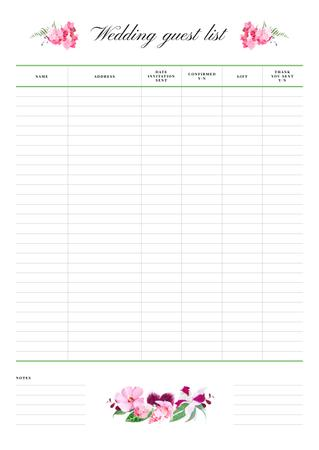 Wedding Guest List with Floral illustrations Schedule Planner Design Template