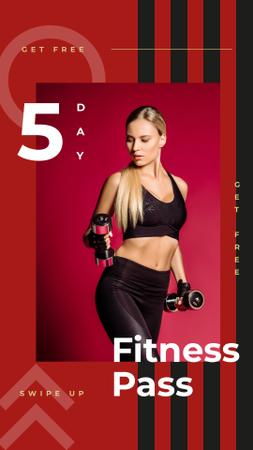 Woman exercising with dumbbells Instagram Story Modelo de Design